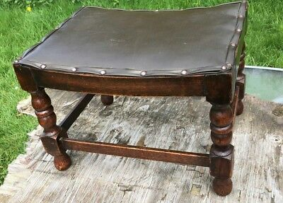 Antique Vintage Small Wooden Foot Stool With Leather Effect Top *