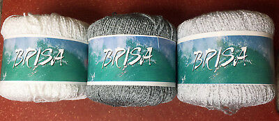 Katia Brisa Yarn in 3 colors U CHOOSE: White, Silver or Gray Viscose/Acrylic 50g