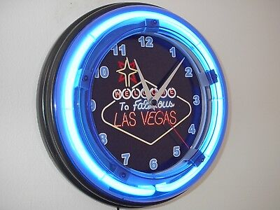 ***Welcome to Las Vegas Casino Bar Gameroom Man Cave Blue Neon Wall Clock Sign
