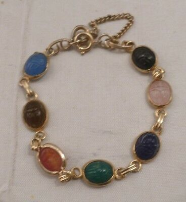 Egyptian Revival Carved Scarab Beetle Gold Tone Bracelet with Safety Chain 6.5""