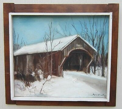 Original VINTAGE Oil Painting COVERED BRIDGE Listed Oregon Artist NORMA DRISCOLL