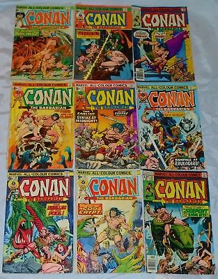 Vintage 1970s Marvel Conan The Barbarian Comics Lot Of 9