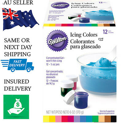 Wilton Icing Colours 12 Set Food Colouring Gel Paste - Fondant Cake Pack