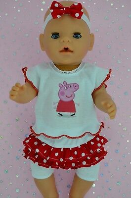 """Play n Wear Doll Clothes To Fit 17"""" Baby Born SKIRT/BUILT-IN TIGHTS~TOP~HEADBAND"""