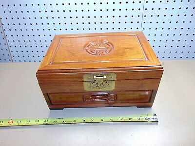 Large Wood Box Wooden Jewelry Red Color Inside 12 X 8