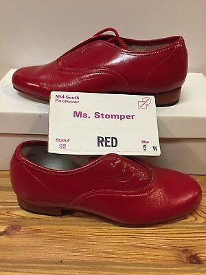 Ms. Stomper  Size 5 W WOMENS Clogging Tap Dance Shoes, (no Taps) Red