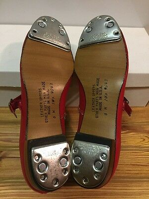 Red Scoop Clogging Dance Shoes Women's Size 6 N With Steven Stomper Buck Taps
