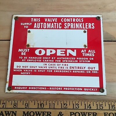 Antique Porcelain Enamel Sign Sprinkler Fire Alarm  Vintage Metal rust salvage