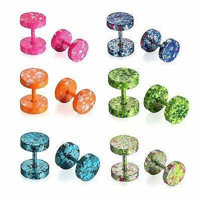 12pcs Stainless Steel Tunnel Plug Camouflage Mens Women Earrings Screw Back Stud