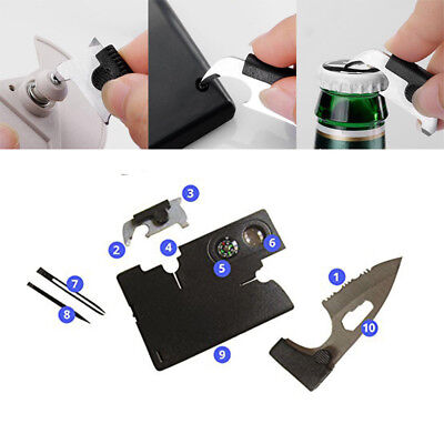 Multi Tool Credit Card Size Kit Functional Knife 10in1 Knife Survival Camping EU