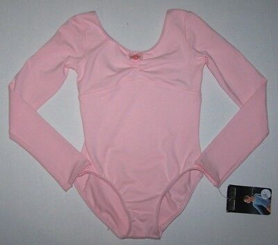 Nwt New Danskin Leotard Long Slv Gathered Bodice Dance Gymnastics Pink Cute Girl
