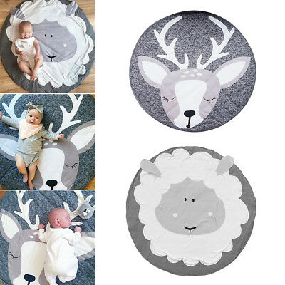 95Cm Cotton Sheep Elk Round Baby Play Crawling Mat Carpet Rug Room Decor Ornate