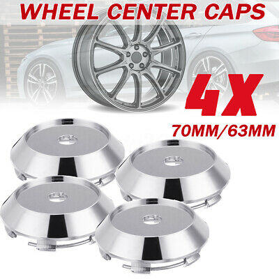 4Pcs Universal Car Chrome Wheel Center Rim Hub Caps Cover Trim Decal 70mm/ 63mm
