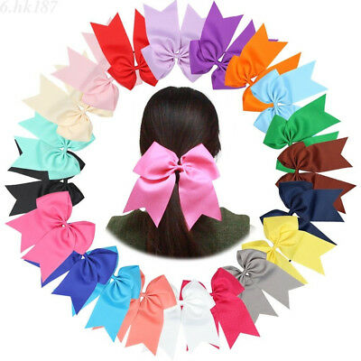 Large Cheer Bow Hair bands Solid Color Girls Cheerleading with Elastic Band 8''