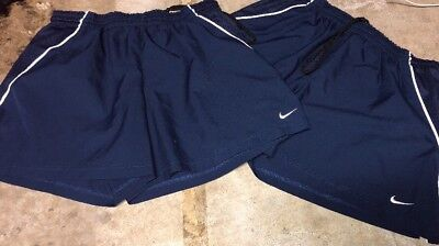Lot 2 Juniors Nike Dri Fit Blue Running Workout Soccer Shorts Unlined Size Large