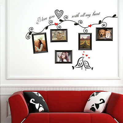 5 Family Photo Frames Birds Removable Wall Stickers Art Quotes Home DIY Decor US