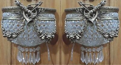 Pair Antique Replica Half Round Crystal Brass French Empire Small Wall Sconces