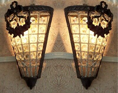 2 Antique Replica Crystal Basket Bronze French Empire Triangle Wall Sconces