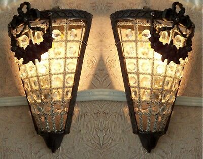 2 Antique Replica Crystal Bronze French Empire Basket Triangle Wall Sconces