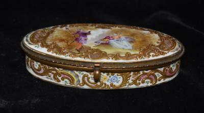 Superb Antique Frankenthal Oval Hinged Snuff /Trinket Box -Courting Scene-1800's