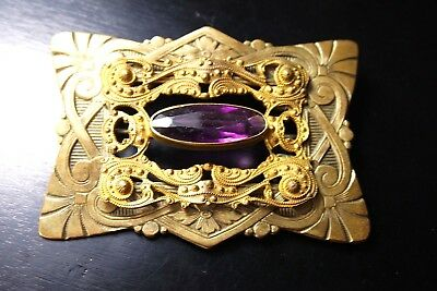 Vintage Antique Victorian  Gilded Brass Amethyst Glass Large  Pin Brooch