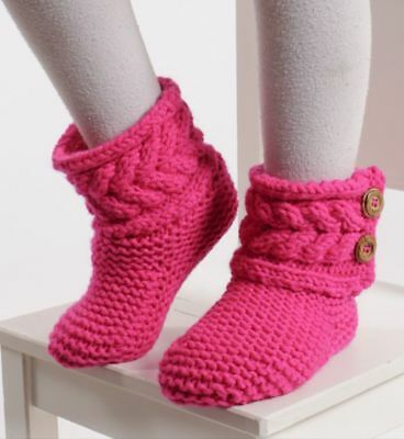 Toddler/Childs Custom Made Hand Knitted Slipper Boots kid sizes 4 to