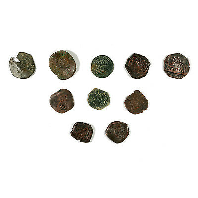 10 Spain colonial pirate cob copper treasure coins 1600's-1700's from a dig