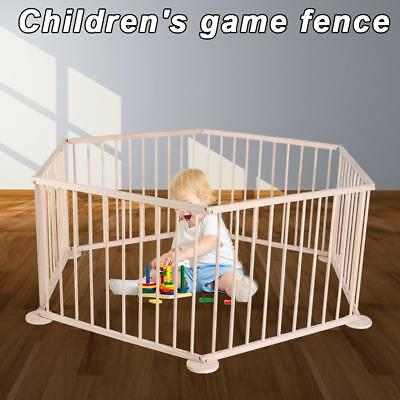 Child Baby Playpen Large Foldable Wooden Play Pen Room Divider 6Panel Gate Fence