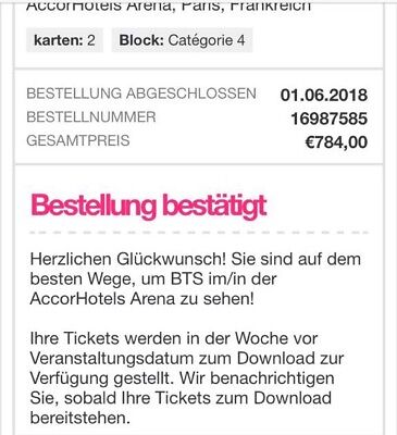 BTS Tickets 19.10.18 Paris