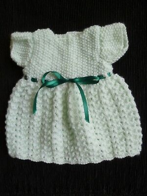 Baby clothes GIRL premature/tiny<5lbs/2.3kg dress professionally knitted mint