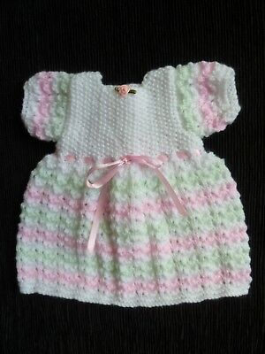 Baby clothes GIRL premature/tiny<5lb/2.3k dress professional knit white, pink...