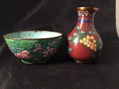 Vintage Cloisonné Vase And Bowl Chinese Japanese Oriental Enamel Metal