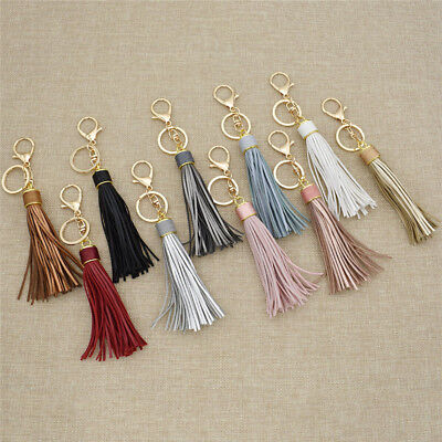 Multicolor Synthetic Leather Tassel Keyring Charm Accessory Key Chain Womens 1pc
