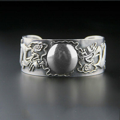Vintage Large Dragon Sterling Silver Chinese Export Cuff Bracelet Signed