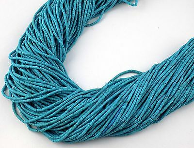 "20 Strands Sleeping Beauty Turquoise 1.75X.5mm - 2X2.25mm Heishi Beads 12"" Long"