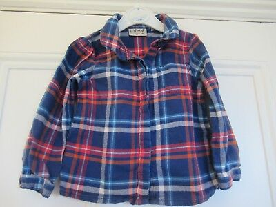 12-18m: Cute checked blouse: Blue/red/orange: 100% cotton: NEXT: Good condition