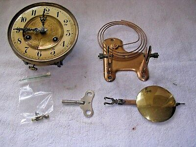 CLOCK  PARTS,MOVEMENt,CHIME, HANDS,PENDULUM ,KEY   v