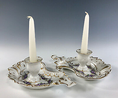 German Hand Painted Chambersticks Candleholder Rococo Forget Me Nots