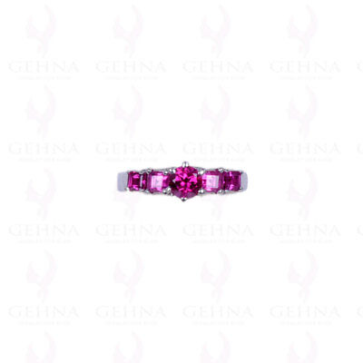 Pink Tourmaline Gemstone Studded Ring In .925 Solid Silver Sr1060