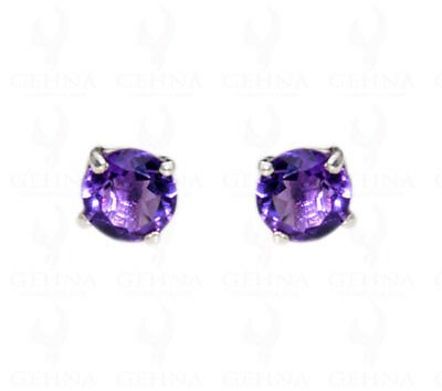 Amethyst Gemstone Stud Earring Made In.925 Sterling Silver Se061198