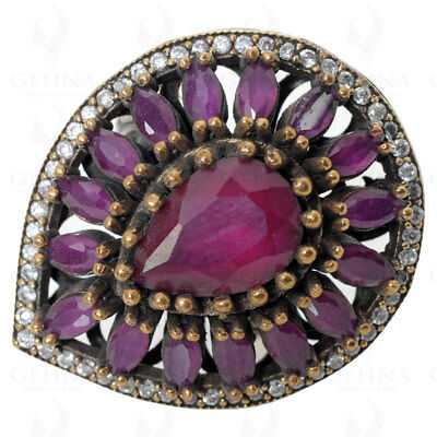 Turkish Jewelry Ruby & Pink Tourmaline Ring In .925 Sterling Silver Ts1074