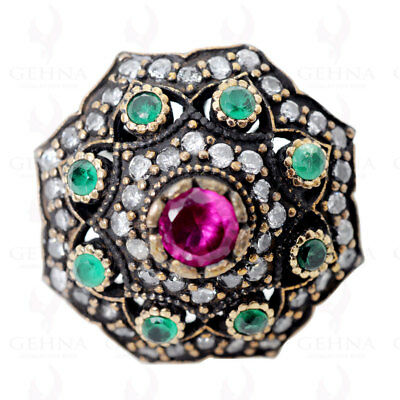 Emerald & Pink Tourmaline Gemstone Ring In .925 Sterling Silver Ts1076