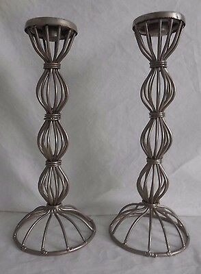 Pair of Tall Metal Taper Candlestick Holders,  Elegant, Modern, Classic, Goth