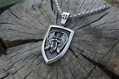 "Archangel Saint ""St Michael Protect Us"" Pray Prayer Pendant Medal Necklace Chain"