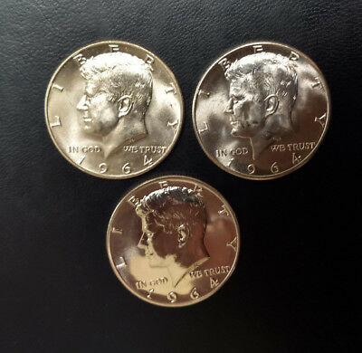 1964 P & D Kennedy Silver Halves & 1964 Silver Proof Half (Lot of 3 90% Silvers)