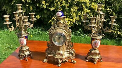 Vintage Antique Brass and Ceramic Clock and 5 Scooner Candlesticks