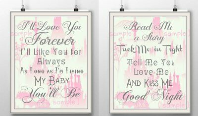 2 pretty pink grey nursery prints sweet quotes lyrics baby girl bedroom art