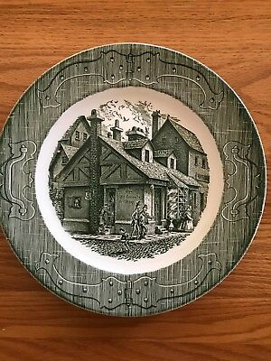 The Old Curiosity Shop green 10 inch Dinner Plate Royal China Vintage