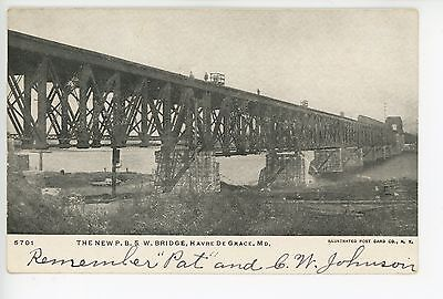 New PB&W Railroad Bridge HAVRE DE GRACE Rare Antique Train UDB ca. 1907