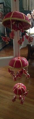 15 Lucky Elephant and Bells 3 Level Hanging Mobile Fabric Umbrella. India. Pink.